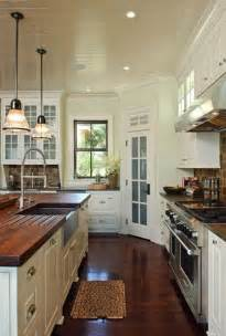 bead board ceiling and hardwood in kitchen white