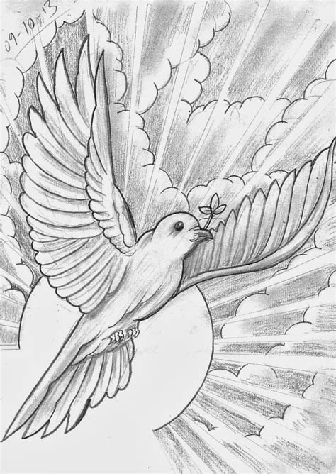 dove and cloud tattoo designs sketch a day religious october 8th 14th