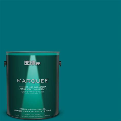 behr marquee 1 gal mq6 35 teal motif one coat hide semi gloss enamel interior paint 345301