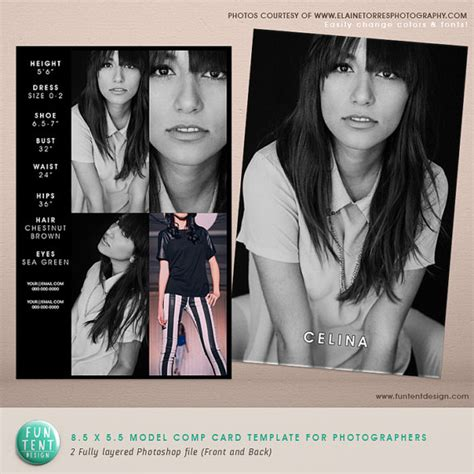 model comp card template model comp card 8 5x5 5 fashion profile template by