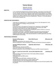 occupational therapist resume sle occupational therapy resume cover letter exle