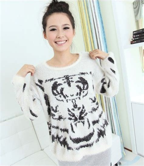 Tiger Print Pullover tiger print fluffy jumpers white and black tiger print
