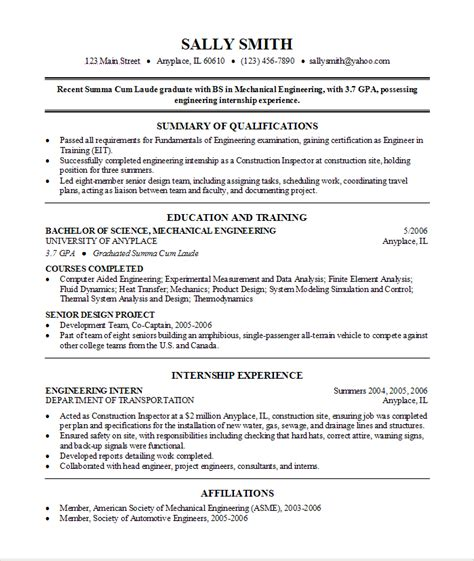Resume Exles After College Find On Careerbuilder