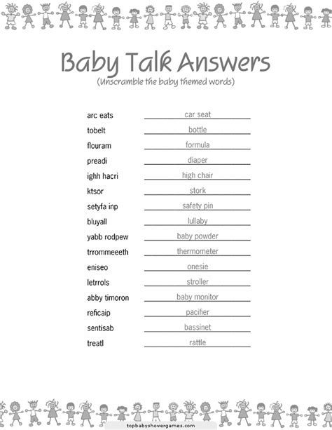 Unscramble Baby Shower Words by Unscramble The Baby Related Words