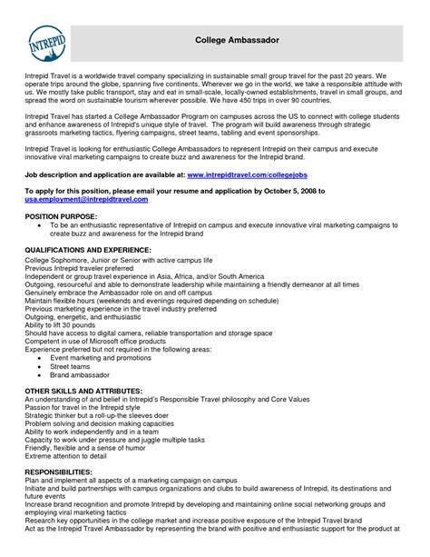Brand Ambassador Resume by 10 Brand Ambassador Resume Sle Riez Sle Resumes