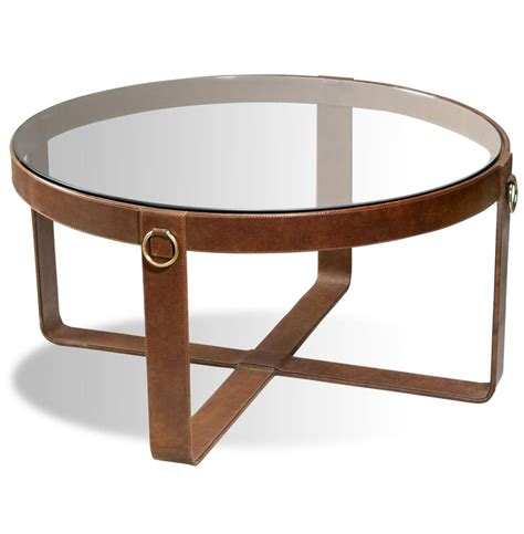 Jameson Modern Rustic Lodge Round Leather Coffee Table Home Coffee Table