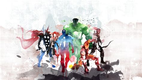 Fish Wall Mural the avengers watercolor painting wallpaper best hd
