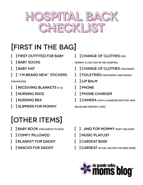 Hospital Bag Checklist Section by 38 Weeks Of Pregnancy 1 Or 2 To Go