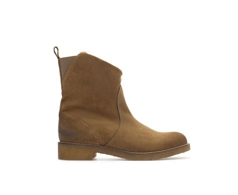 brown flat boots zara flat ankle boot in brown leather lyst