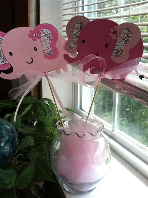 Elephant Centerpiece Skewers 6 pc, Elephant Baby Shower, Elephant Birthday Party, Elephant