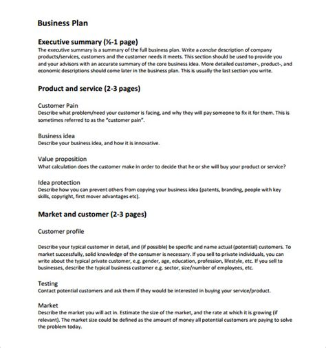 business plan templates 6 free documents in