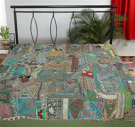 Bed Cover Patchwork - black indian patchwork bed cover embroidered