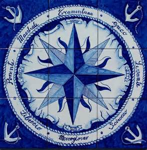 Nautical Home Decor Canada Painted Nautical Home Decor Tile Mural Compass