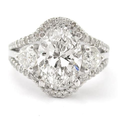 Oval Cut Split Shank Diamond Engagement Ring O9