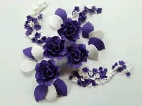 edible set of cadbury purple sugarpaste roses cake