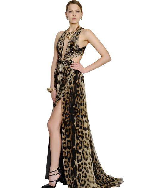 Cavali Dress lyst roberto cavalli leopard silk chiffon dress
