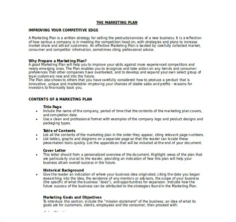 marketing business plan template 18 marketing plan templates free word pdf excel ppt