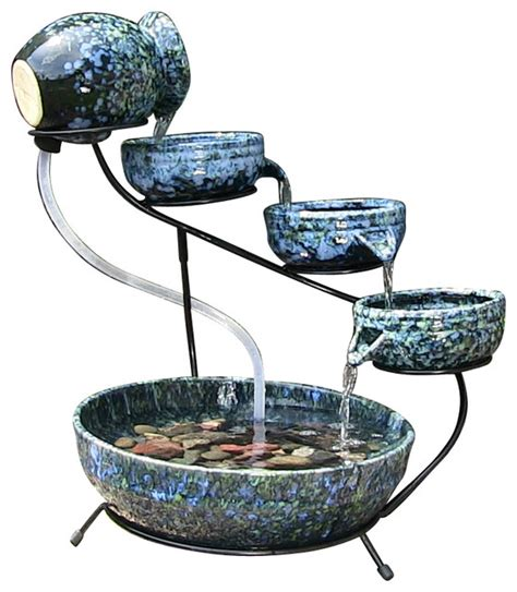 Decorative Outdoor Solar Water Fountains by Decorative Blue Cascade Solar