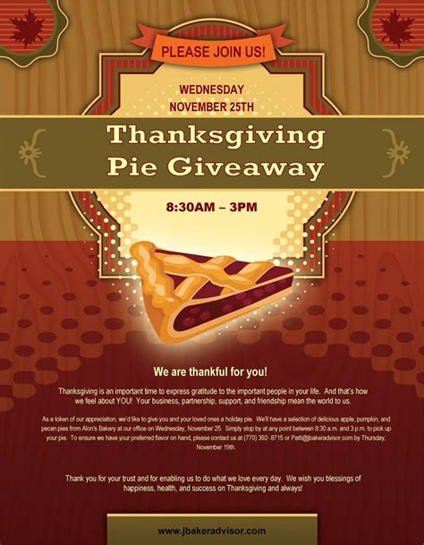 Thanksgiving Sweepstakes - 2015 thanksgiving pie giveaway jon baker financial group