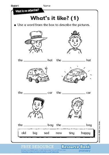 worksheets for adjectives ks1 adjectives homework ks1