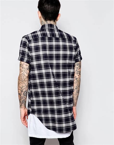 lyst asos longline shirt with navy flannel check in
