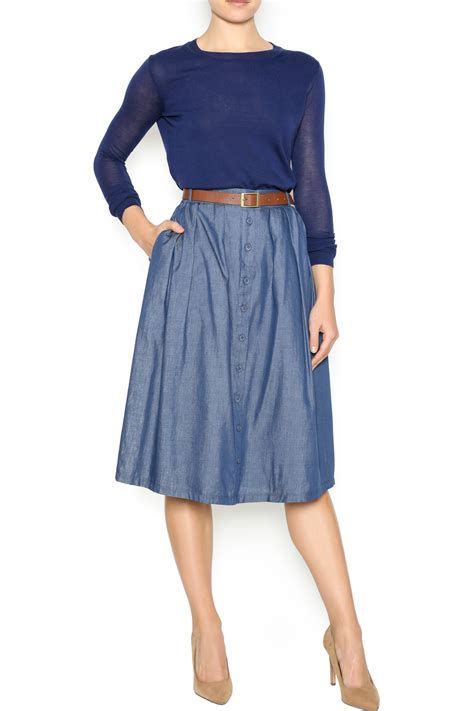 comme toi chambray midi skirt from utah by jolley s gifts
