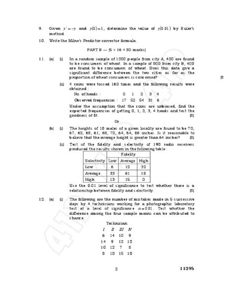 Mba Statistics Question Papers With Answers by Ma2266 Statistics And Numerical Methods