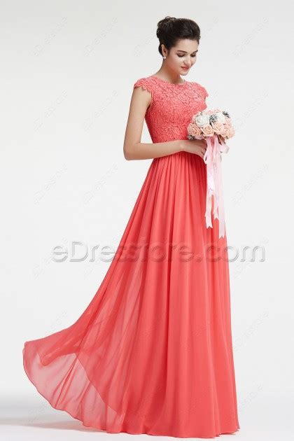 Modest Bridesmaid Dresses by Modest Lace Coral Bridesmaid Dresses With Sleeves