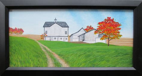 farm painting barn rural landscape country
