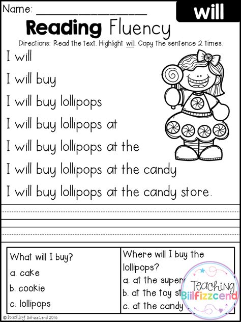 printable games for kindergarten reading free kindergarten reading fluency and comprehension tpt