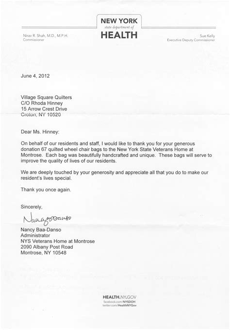 Thank You Letter For Donation To Department Squares Quilters Outreach