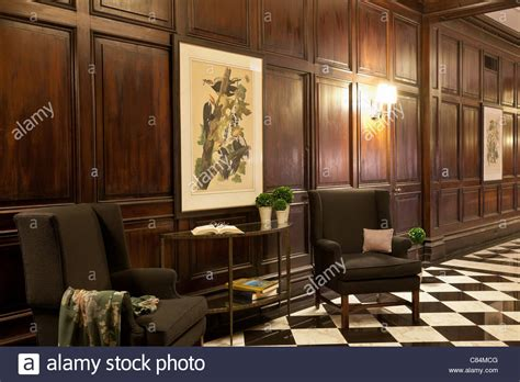 wood paneled vintage hotel lobby interior with