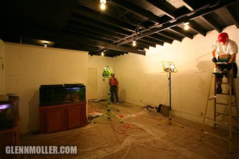 painted exposed ceiling basement basement