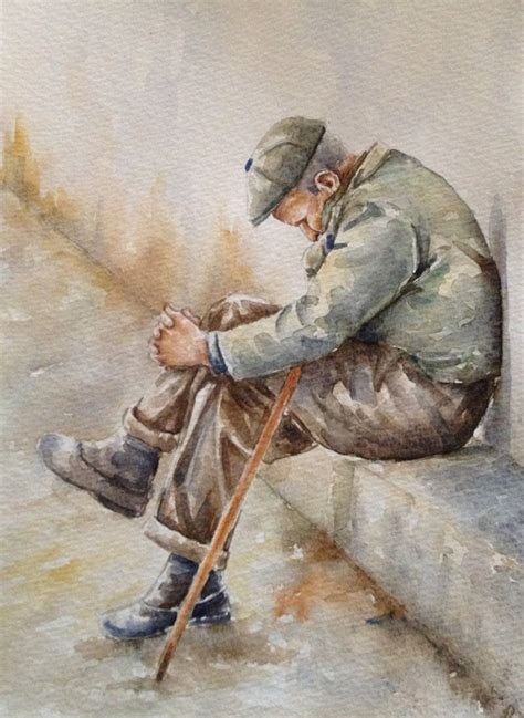 original watercolor figurative painting    man