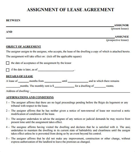 9 Sle Lease Agreements Sle Templates Free Printable Lease Template