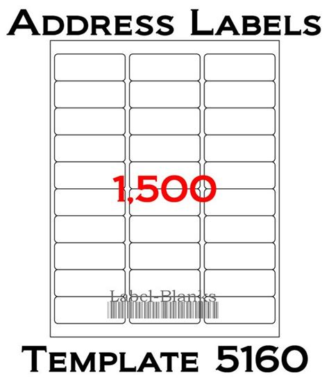 Avery 1 X 2 Label Template Laser Ink Jet Labels 50 Sheets 1 Quot X 2 5 8 Quot Avery Template 5160 Blank White Address