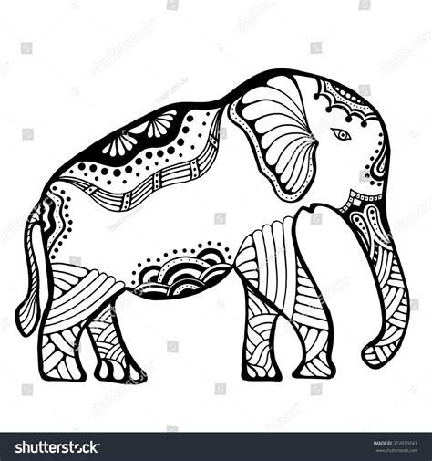 indian elephant doodle indian elephant doodle indian stock vector