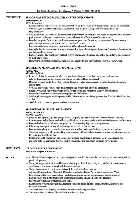 marketing manager operations resume sles velvet