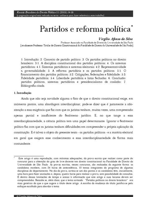 Partidos e reforma política | Partidos políticos