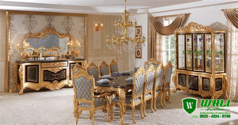 Meja Kursi Makan Luxury meja makan luxury set ukir gold mewah klasik wali furniture