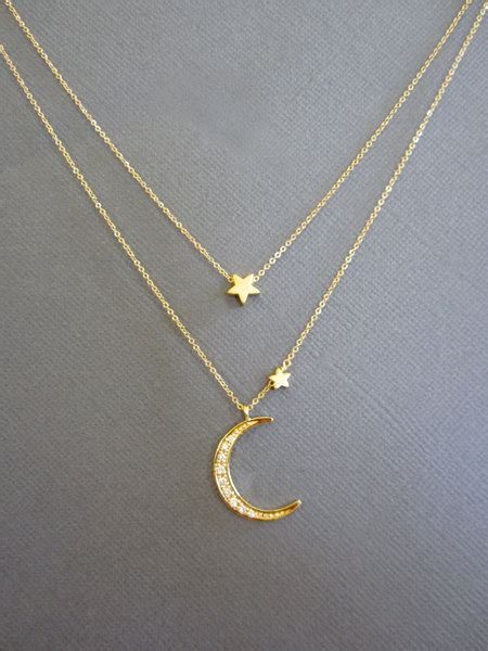 Star and Crescent Moon Necklace, Layered Necklace, Gold Moon star necklace, I love you to the