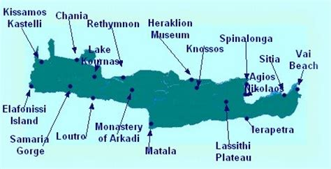 best resorts in crete map of crete showing crete tourist attractions resorts