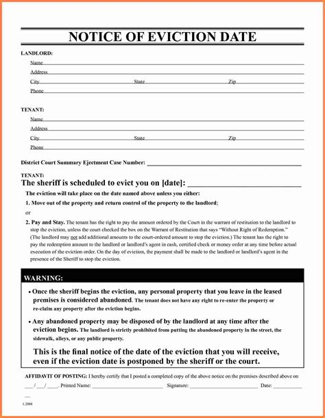 eviction notice form 9 standard eviction notice form notice letter