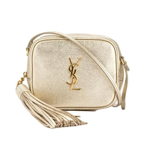 saint laurent pale gold leather monogram blogger bag