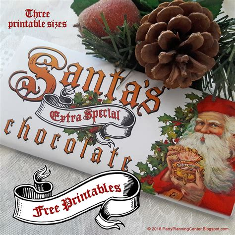 santa claus christmas candy bar wrappers party planning