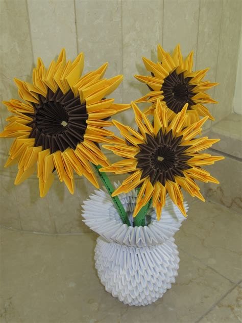 How To Make Paper Sunflowers - s 3d origami sunflowers arts and crafts