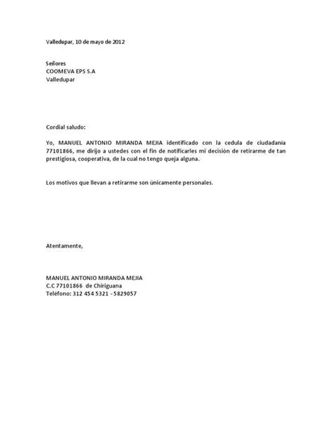 carta de retiro coomeva