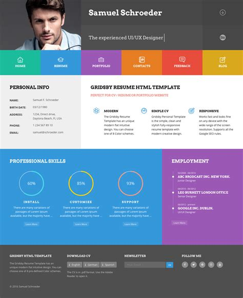 themeforest one page html themeforest curriculum responsive one page portfolio