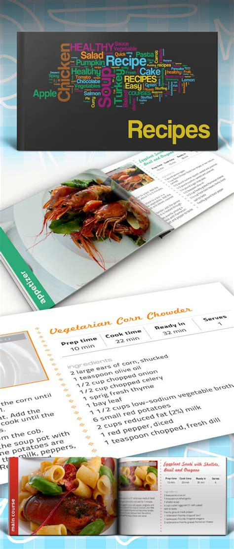 indesign cookbook template recipe book