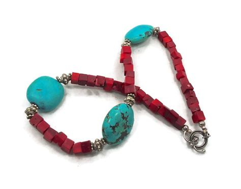 turquoise coral necklace vintage beaded necklace